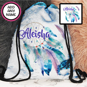 Personalised Dreamcatcher Magic Sequin Bag Backpack Drawstring Christmas Girls