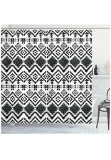 "Ambesonne Tribal Decor Shower Cutain Set With Hooks,75"" Long Black&white. I26"