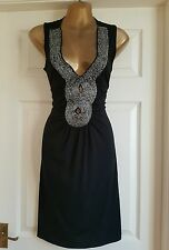Morgan black embellished dress size S uk 8-10 Stretchable material.Celeb style