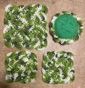 Crocheted Celtic Knot Potholder, Coasters and Scrubbie Set