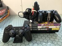Sony Playstation 2 PS2 Slim Black Console Bundle W/ 2 Controllers Tested 3 Games