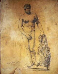 "JOSE MARIA VELASCO 11"" x 8"" INK ON THIN PAPER SIGNED DRAWING FIGURA"