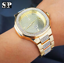 Men's Luxury Designer Style Bling Gold finished Simulated Diamond Bracelet Watch