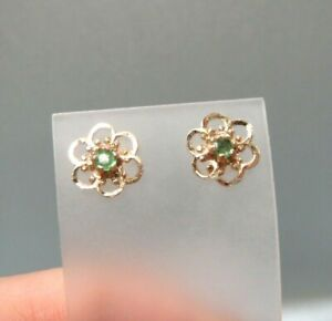 9ct Gold Filigree Emerald Stud Earrings with Butterfly Backs