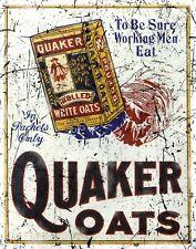 """TIN SIGN """"Quaker Oats Rust""""  Food Art Deco Garage Wall Decor"""