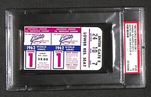 "1962 World Series WHITEY FORD ""WS 10th WIN MLB RECORD"" game 1 ticket PSA grade 5"