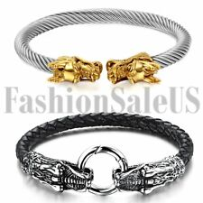 2pcs Mens Silver Tone Dragon Stainless Steel Twisted Cable Bangle Bracelet Cuff