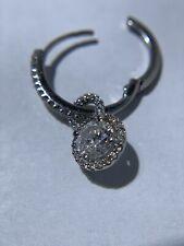 14K White Gold Hanging Charm Halo Diamond Earrings
