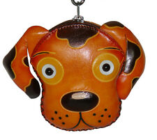Leather Wristlet Coin/change Purse,Jewelry Holder,Dog Face pattern, Gold-Yellow