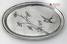 Russian Art Nouveau Oval Tray Bird Butterfly Floral V T Sokolov Moscow 1895