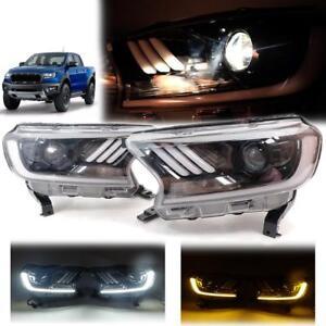 Fit 2015-2017 Ford Ranger Mk2 Pickup Truck 4X4 LED Head Light Mustang style