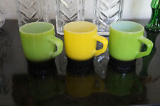 3 Vintage Anchor Hocking Fire King coffee mugs   D handle   MINT