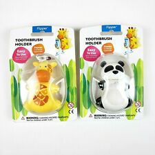 Lot of 2 Flipper Animal Toothbrush Holder Panda Giraffe