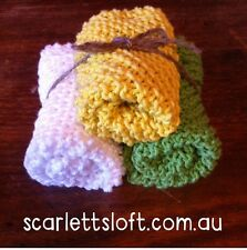 Hand Knitted Cotton Face Cloth. Made In Australia.