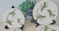 Vtg. 4 Pc Fine Arts China Lily Of The Valley 2 Dinner, 2 Salad Plates White Exc