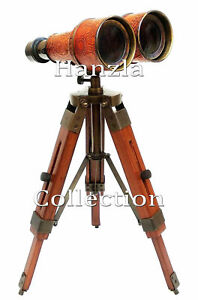 Nautical Brass Binocular Leather Nautical Desk Tabletop With Wooden Tripod Stand