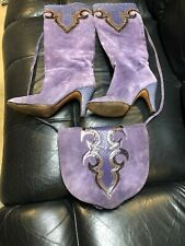 Andrea Pfister Women's Purple Black & Brown Boots Size 7US. Suede W/ Snake Trim