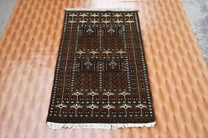 Oriental Carpet Rugs Hand Knotted Brown Color Morden Design Chobi Mat 2.6x4 Foot