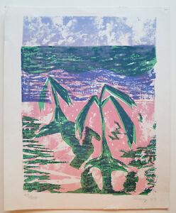 TROPICAL Original Serigraph Print Signed Alvarez 1977