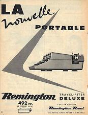 PUBLICITE ADVERTISING   1957 REMINGTON  MACHINE  à ECRIRE PORTABLE