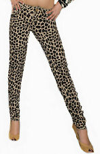 NEW SEXY WOMEN LEOPARD PRINT SKINNY JEANS LADIES TROUSER SIZE 6 8 10 12 14 PANT