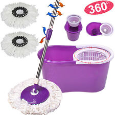 360°Easy Clean Floor Mop Bucket 2 Replacement Rotary Heads for Housework Purple