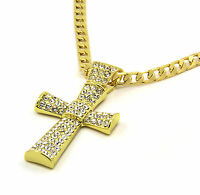 "Mens 14k Gold Filled Fully Cz Cross Pendant Hip-Hop 24"" Cuban Necklace Chain 02"