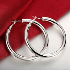 "4mm X 70mm 2 3/4"" Large Plain Polished Hoop Earrings Real 925 Sterling Silver"