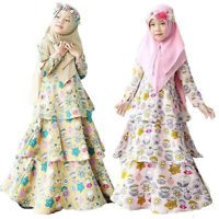 Muslim Girls Long Sleeve Dress Kids Prayer Hijab Abaya Islamic Robe Gown Kaftan