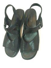 Munro American Women's Size 8N Black Sandal Hook N Loop Open Toe Comfort USA
