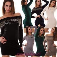 Miniabito donna pull pullover maxi maglia strass maglione nuovo P2735