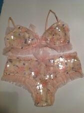 00d72a5686b649 Victorias Secret Very Sexy Darling Floral Sequined Tulle Bralette Panty Set  M
