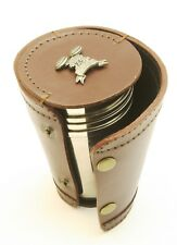 Clays Shooting 4 Stacking Stirrup Shot Cups in Leather Case NEW