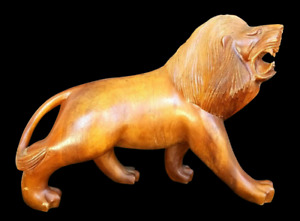 LION Hand Carved Wood Carving Antique Mid-Century Hollywood Regency Sculpture