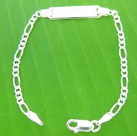 MADE IN ITALY 925 Sterling Silver ID engravable FIGARO bracelet - KID TEEN GIRL