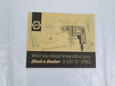 "Black & Decker U-100 1/4"" Drill Original Owners Manual Instructions User Guide"