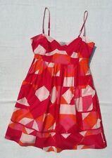 Oasis Women's Sun Dress UK 12 Pinks & Orange Print 100% Cotton Strappy  Summer