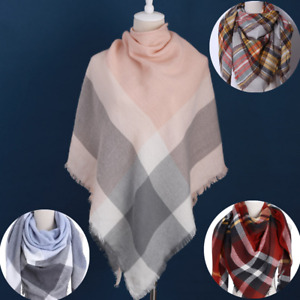 Triangle Scarf Women Shawl Wraps Fringe Knitted Cashmere-like Plaid Neckerchief