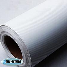 Carbonfolie WEISS 1 x 1,5 m Carbon Look Wrapping Folie 3D Struktur blasenfrei
