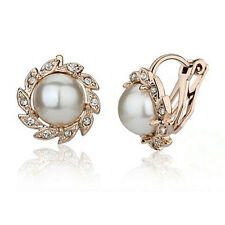 Comfy Ear Cuff Wrap Rhinestone Crystal Clip On Cream Ivory Pearl Earring Jewelry
