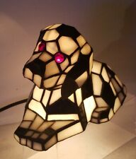 Tiffany Style Stained Glass Dalmatian Table Lamp. Nodding Head. Working.