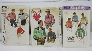 3 Vtg Sewing Patterns 1950s-70s Lot Western Shirts Mens Cowboy Rockabilly Retro