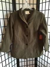 Faded Glory Sz 2XL 18W-20W Plus Olive Faux Wool Button Front Outerwear Coat NWT