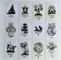 Postkarten 12 AK Scherenschnitte Plischke Karten Klaus Pfleumer DDR-Zittau