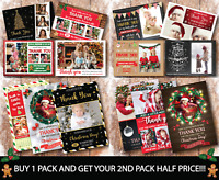 10 x Personalised Christmas Thank You Cards Notes With Photo Pack & Envelopes