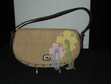 New! Guess Desert Lily Burlap Type Fabric and Suede Shoulder Bag
