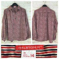 Vintage Halston III womens Blouse Red Blue Stripe Print Shirt, Size 14