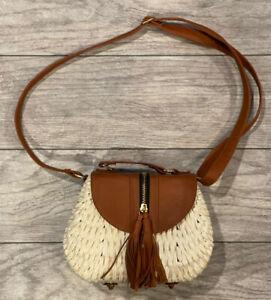 Woven Straw Purse Handbag Shoulder Bag hardside Off White and brown, New