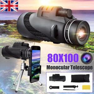 80X100 HD Monocular Telescope Phone Camera Zoom Starscope Hiking Tripod Tools UK
