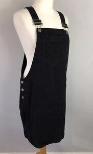 GEORGE Size 12 Black Pinafore Dress Cord Cotton Mix Autumn Winter Workwear